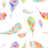 Seamless pattern of watercolor abstract feathers Stock Photo