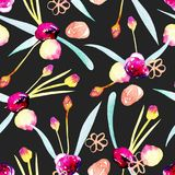 Seamless pattern with watercolor abstract pink and yellow flowers. Hand painted on a dark background Stock Photography