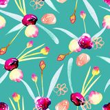 Seamless pattern with watercolor abstract pink and yellow flowers. Hand painted on a green background Stock Photography