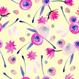 Seamless pattern with watercolor abstract pink and yellow flowers. Hand painted on a white background Stock Photos