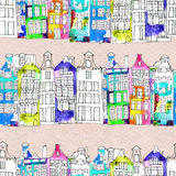 Seamless pattern with watercolor Amsterdam houses Royalty Free Stock Images