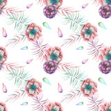 Seamless pattern with the watercolor anemone flowers and branches. Hand drawn on a white background Stock Photo