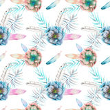 Seamless pattern with the watercolor anemone flowers, feathers and blue branches. Hand drawn on a white background Royalty Free Stock Images