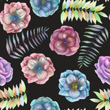 Seamless pattern with the watercolor anemone flowers, fern, leaves and branches. Hand drawn on a black background Stock Photo