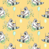 Seamless pattern with watercolor artist-raccoon in plants and air balloons around Stock Images