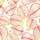 Seamless pattern with watercolor autumn leaves Royalty Free Stock Image