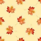Seamless pattern with watercolor autumn leaves Stock Images