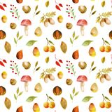 Seamless pattern of watercolor autumn tree leaves, fall forest berries, acorns and mushrooms