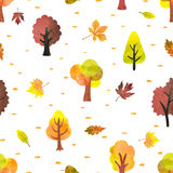 Seamless pattern with watercolor autumn trees. Vector autumn forest background Stock Image
