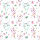 Seamless pattern with watercolor ballet dancers with butterfly wings and flowers Royalty Free Stock Images