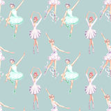 Seamless pattern with watercolor ballet dancers royalty free illustration