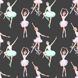 Seamless pattern with watercolor ballet dancers Stock Photography