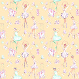 Seamless pattern with watercolor ballet dancers, puppet unicorns, butterflies and pointe shoes. Hand drawn isolated on a pink background Royalty Free Stock Image