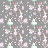 Seamless pattern with watercolor ballet dancers, puppet unicorns, feathers and pointe shoes. Hand drawn isolated on a grey background Stock Photography
