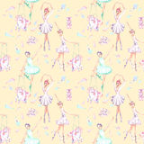 Seamless pattern with watercolor ballet dancers, puppet unicorns, feathers and pointe shoes. Hand drawn isolated on a pink background Stock Photography