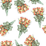 A seamless pattern with the watercolor beautiful bouquets of the red and yellow roses on a white background Stock Photo