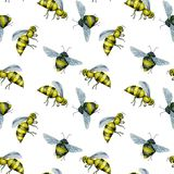 Seamless pattern with watercolor bees. Hand drawn isolated on a white background Stock Photo