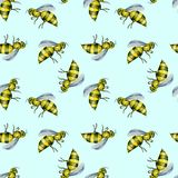 Seamless pattern with watercolor bees. Hand drawn isolated on a light blue background Stock Photo