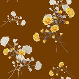 Seamless pattern watercolor of beige and yellow flowers and bouquets on a chocolate background stock photography