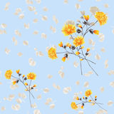 Seamless pattern watercolor of beige and yellow flowers and bouquets on a light blue background royalty free stock photo