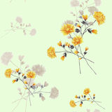 Seamless pattern watercolor of beige and yellow flowers and bouquets on a light green background stock image
