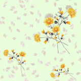 Seamless pattern watercolor of beige and yellow flowers and bouquets on a light green background royalty free stock photos