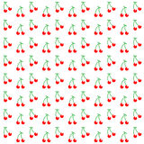 Seamless pattern with watercolor berry cherry. Endless repeating print background texture. Fabric design, Vector illustration Stock Photo