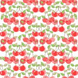 Seamless pattern with watercolor berry cherry. Endless repeating print background texture. Fabric design. Wallpaper -  Stock Image