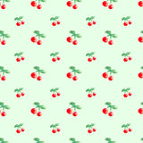 Seamless pattern with watercolor berry cherry in light green background Royalty Free Stock Photos