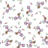 Eamless pattern with bicycles and flowers Stock Image