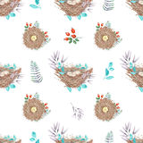 Seamless pattern with watercolor bird nests with eggs, in plants and berries. Hand drawn isolated on a white background Royalty Free Stock Photography