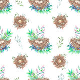 Seamless pattern with watercolor bird nests with eggs, in plants and berries Stock Images