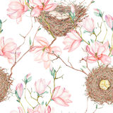 Seamless pattern of the watercolor bird nests on the tree branches with magnolia flowers, hand drawn on a white background Royalty Free Stock Images