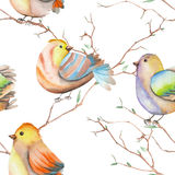 Seamless pattern of the watercolor birds on the branches, hand drawn on a white background. Seamless pattern of the watercolor birds on the tree branches, hand Stock Images