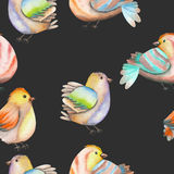 Seamless pattern of the watercolor birds on a dark background Royalty Free Stock Photo