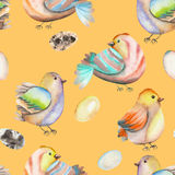 Seamless pattern of the watercolor birds and eggs, hand drawn on an orange background Royalty Free Stock Photography