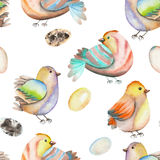 Seamless pattern of the watercolor birds and eggs, hand drawn on a white background Stock Images