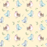 Seamless pattern of the watercolor birds and forest plants Royalty Free Stock Photography