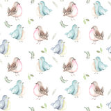 Seamless pattern of the watercolor birds and forest plants. Hand drawn on a white background vector illustration