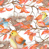 Seamless pattern of the watercolor birds and nests Royalty Free Stock Photos
