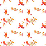 Seamless pattern with watercolor birds Royalty Free Stock Images
