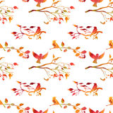 Seamless pattern with watercolor birds Royalty Free Stock Photos