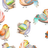 Seamless pattern of the watercolor birds on a white background Stock Photography