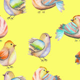 Seamless pattern of the watercolor birds on a yellow background Royalty Free Stock Photo