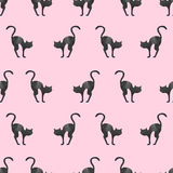 Seamless pattern with watercolor black cat silhouettes. Vector illustration Stock Photography