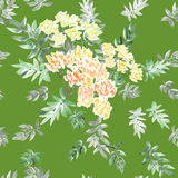 Seamless pattern watercolor of blossoming spring branch with yellow flowers and gray and green leaves on a green background royalty free stock image