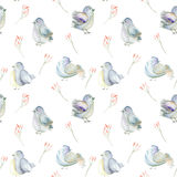 Seamless pattern of the watercolor blue birds and pink flowers branches Stock Image