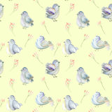 Seamless pattern of the watercolor blue birds and pink flowers branches Stock Photo