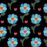 Seamless pattern with watercolor blue cute flower with heart. Watercolor flower background Royalty Free Stock Photography