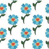 Seamless pattern with watercolor blue cute flower with heart. Watercolor flower background Stock Photos